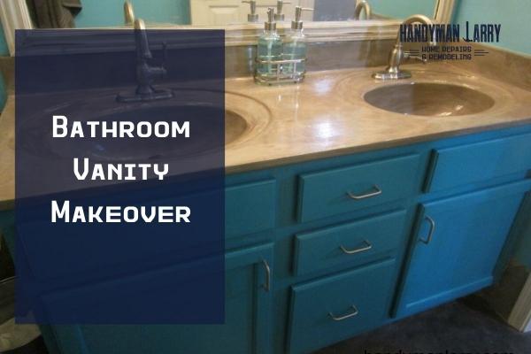 Bathroom Vanity Make Over- Marble to Concrete Vanity