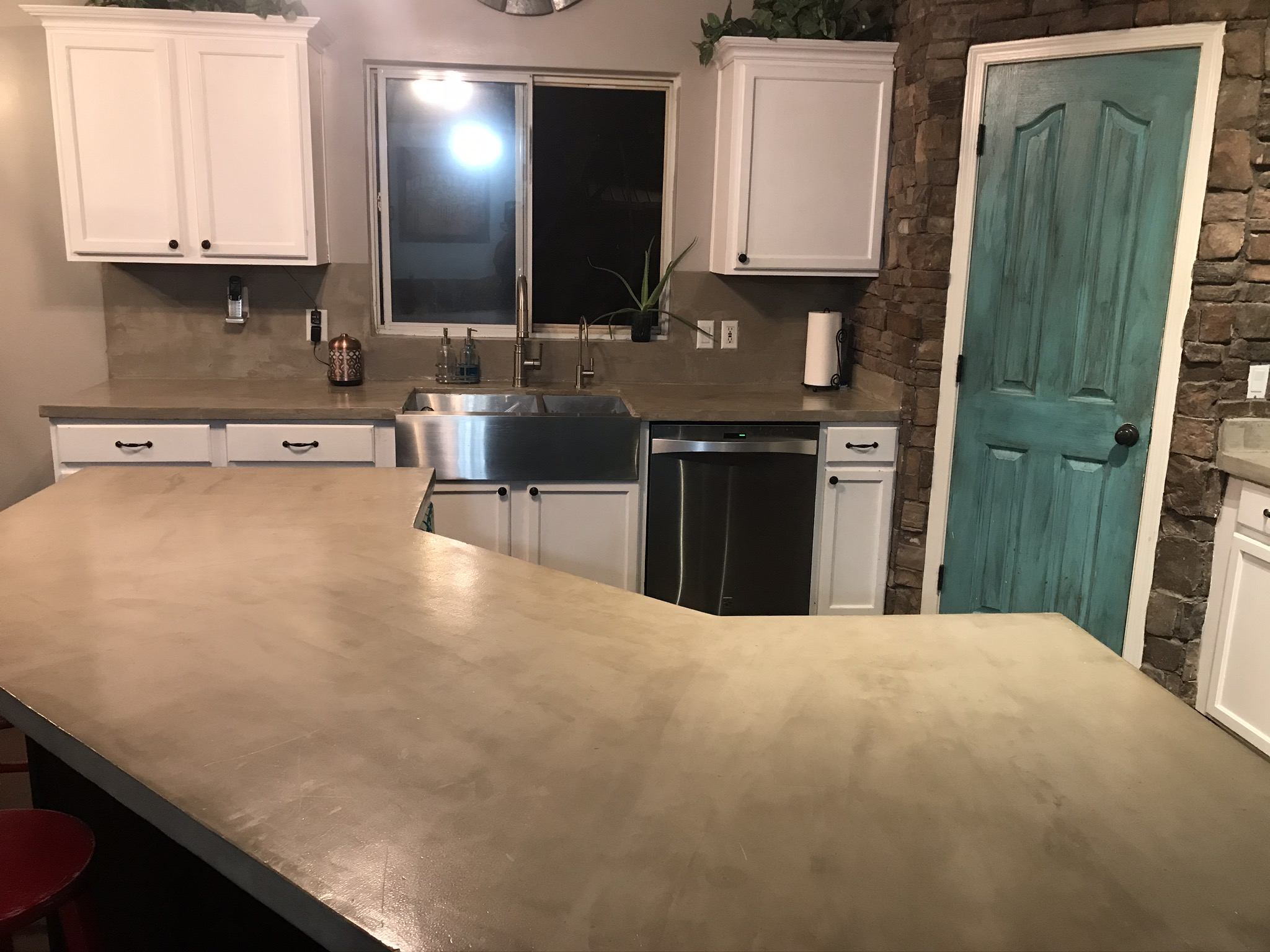 Overview of kitchen concrete countertops
