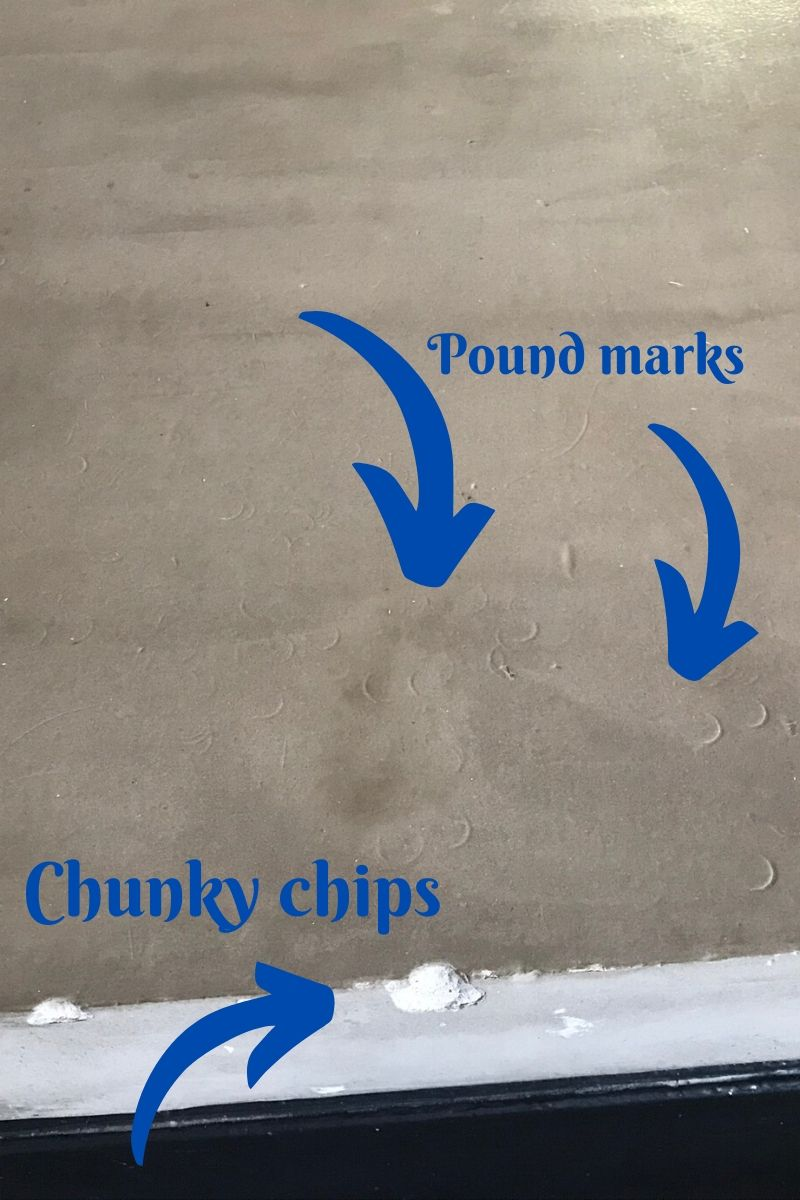 marks on island concrete counter