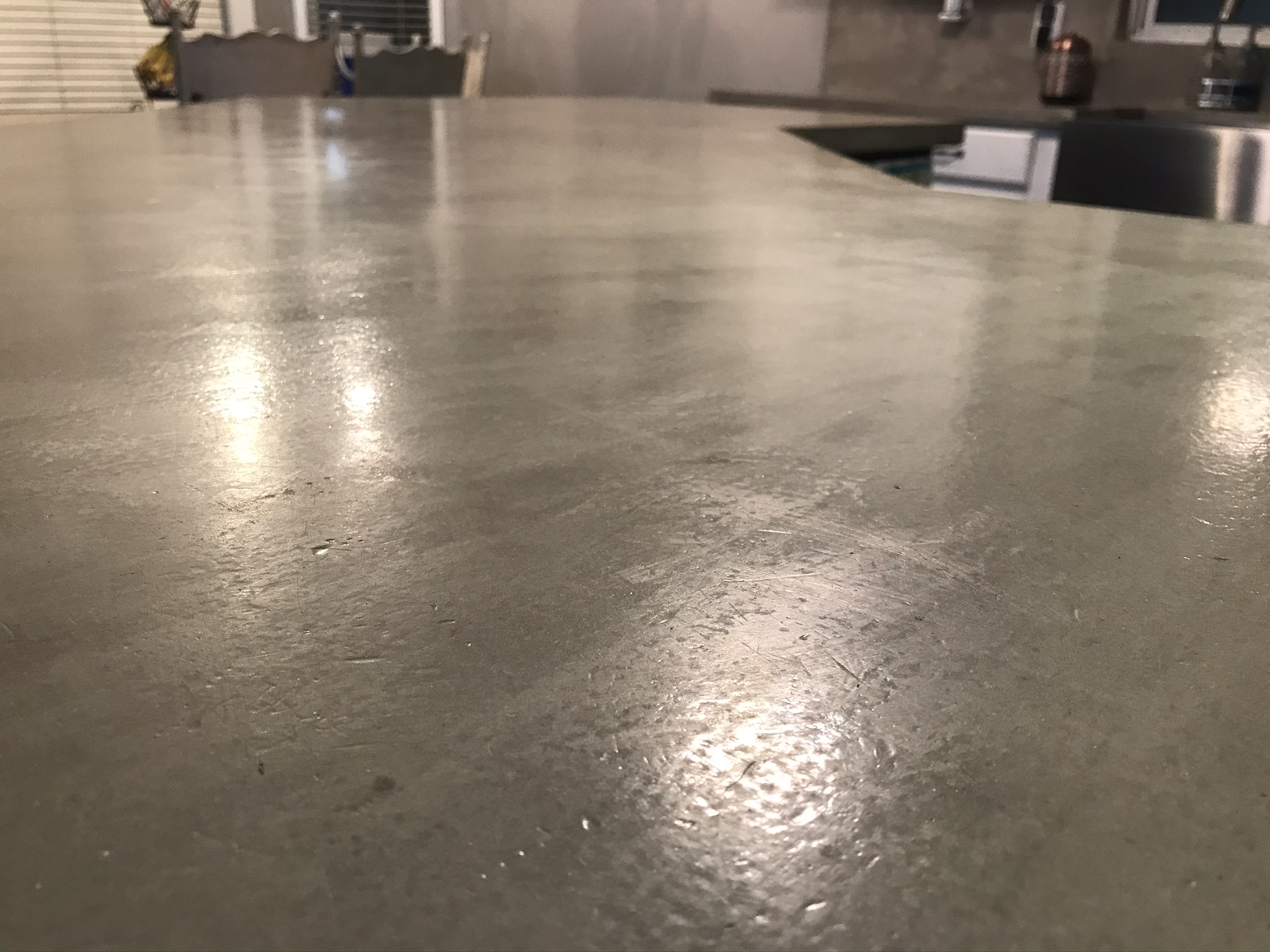 Up close with concrete countertop from right